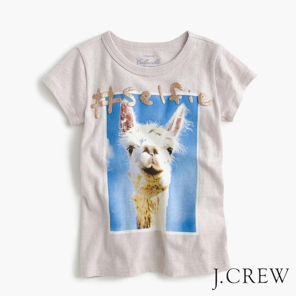 e1a90585 Crewcuts Shirts & Tops | Adorable Jcrew Girls Llama Selfie Tshirt ...